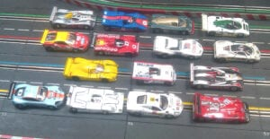 A variety of slot cars entered in Nomad Raceways LeMans endurance race.