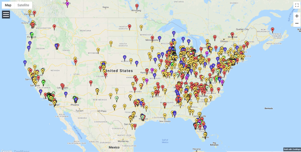 Map of Slot Car Tracks in the USA